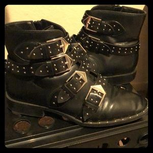 Studded strapped black boots
